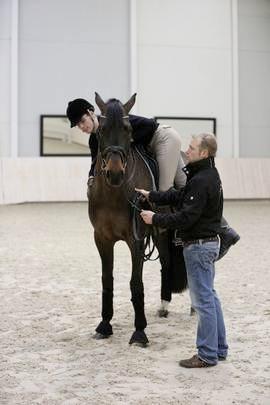 Der Reiter lehnt sich über den Sattel und streichelt das Pferd auf der rechten Seite. Foto: www.gestuet-bonhomme.de