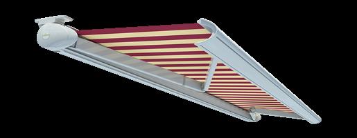 """Kassettenmarkise """"Toscana"""" von Lesens mit rot-weißem Stoff und silberfarbenem Gehäuse"""
