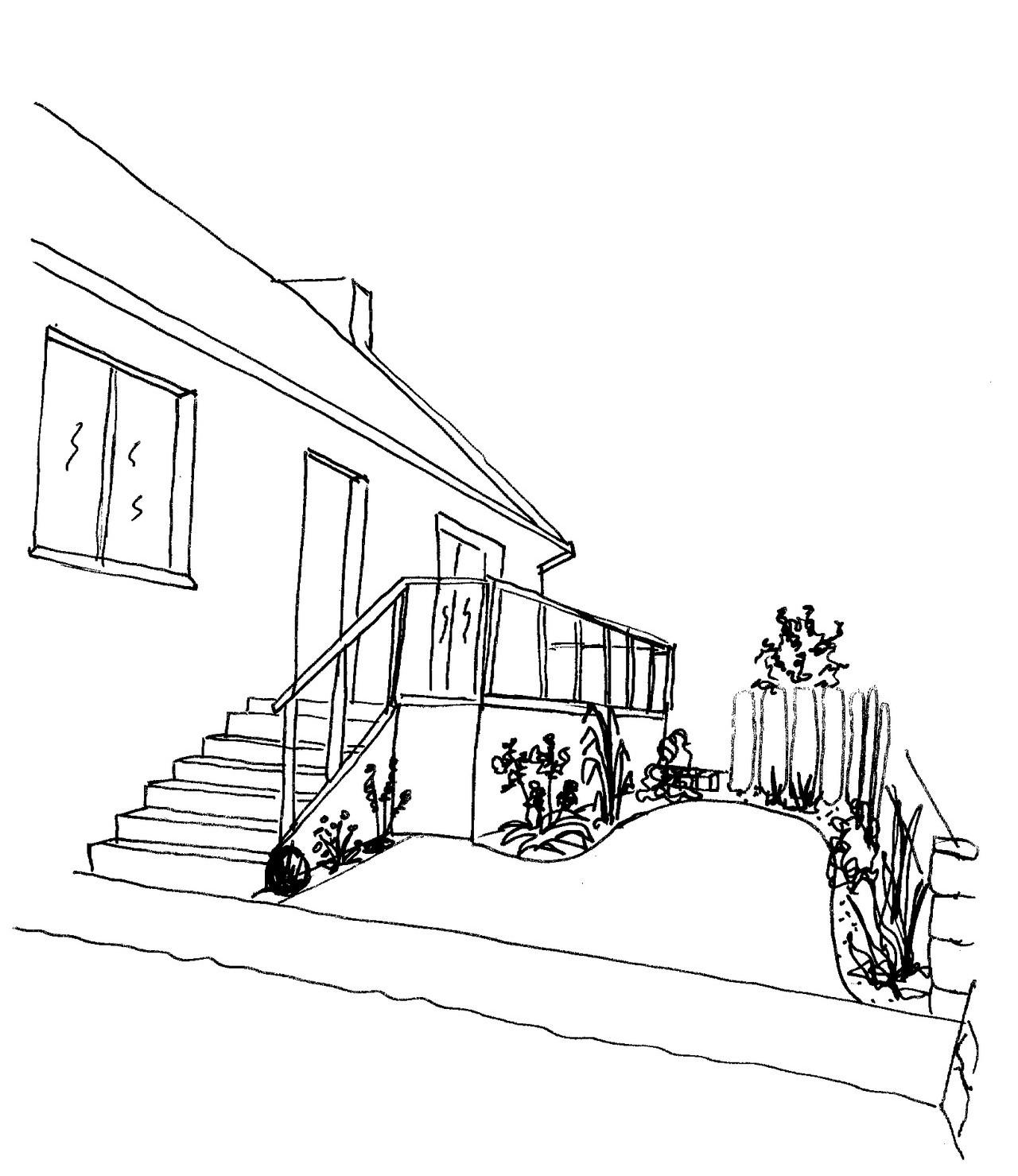 REF 112 Aménagement de maison sur sous-sol: esquisse vue depuis l'entrée de la rue