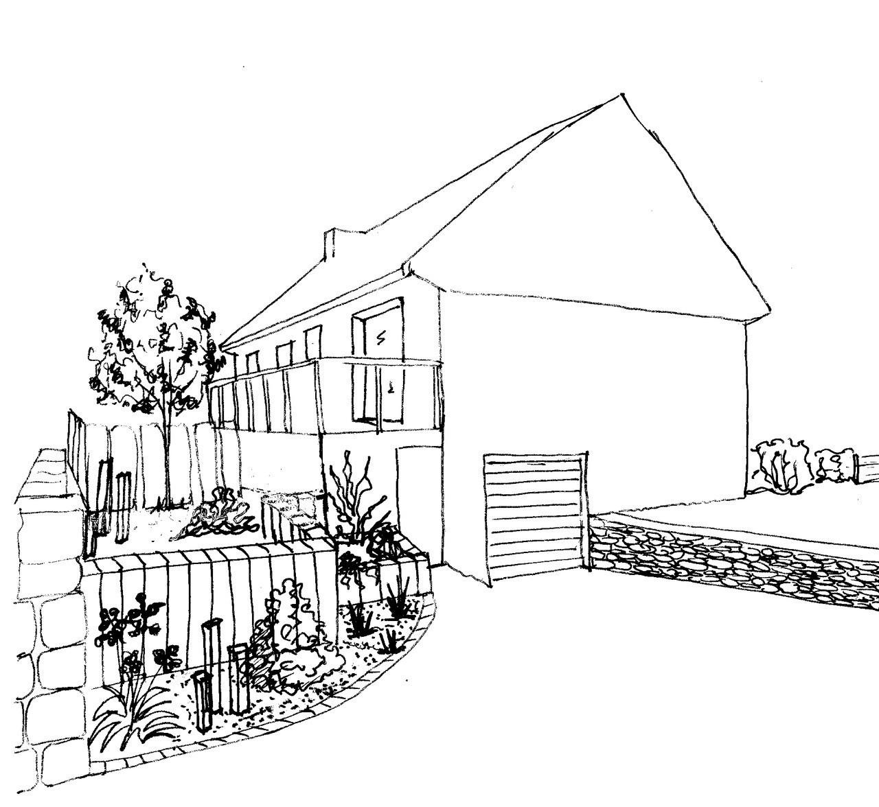 REF 112 Aménagement de maison sur sous-sol: esquisse vue depuis l'accès au sous-sol