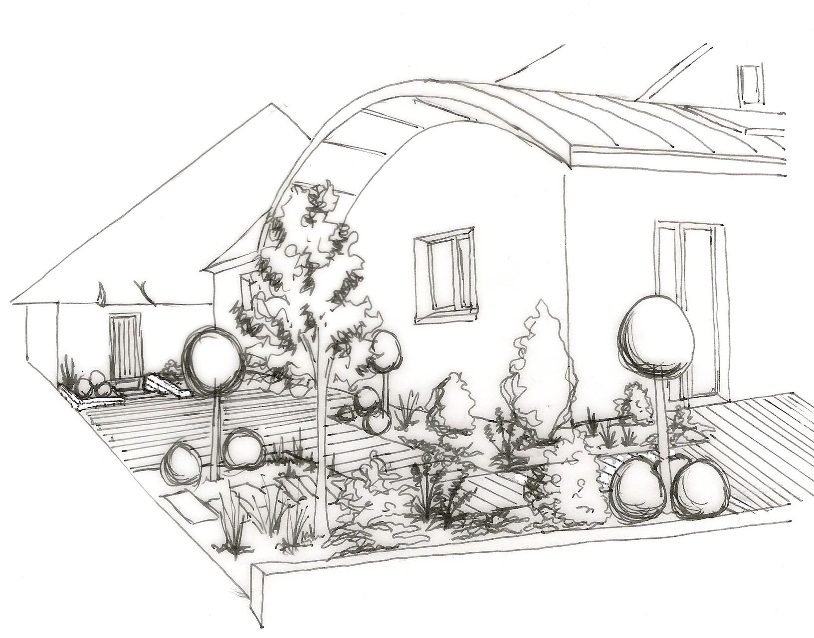 Aménagement de terrasse avec massifs associés