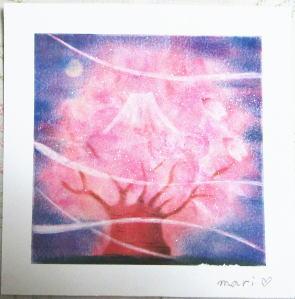 夜桜と富士