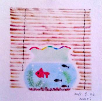 金魚鉢と簾