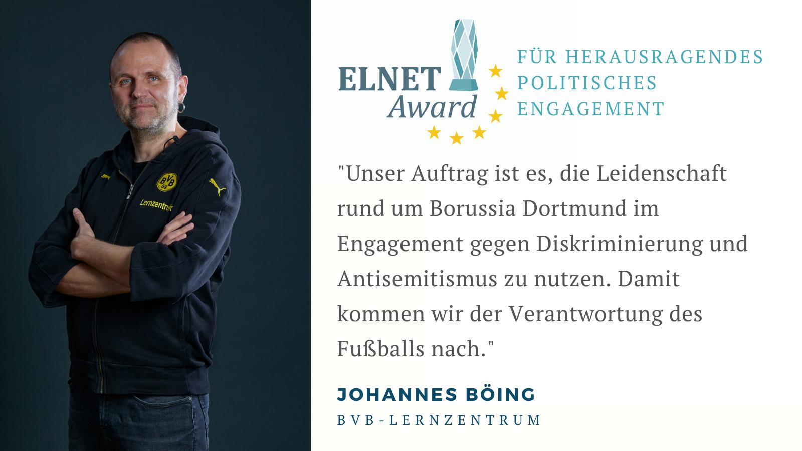 Johannes Böing erhält ELNET AWARD