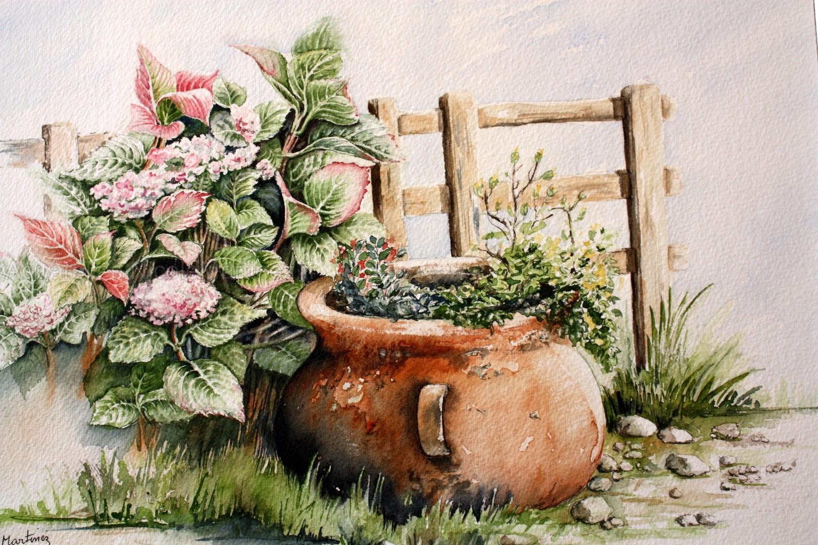 Le vieux pot aux hortensias