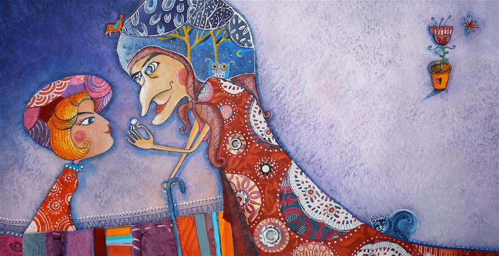 Album jeunesse - Poucette - Catherine Suchocka, Chez la vieille sorcière