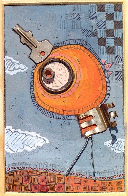 """""""L'OISEAU CLEF"""" - 18 cm x 26 cm - VENDU"""