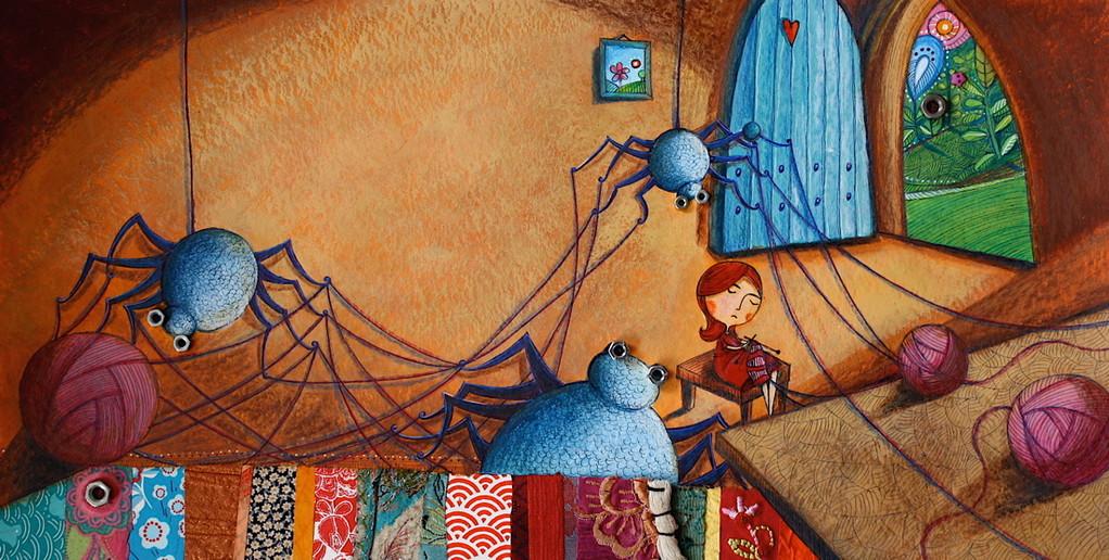 Album jeunesse - Poucette - Catherine Suchocka, Les araignées et Poucette tissent