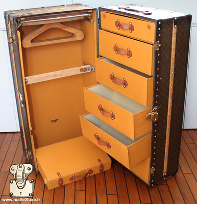 e236f60ba407 Restoration of a partially destroyed Louis Vuitton wardrobe trunk ...