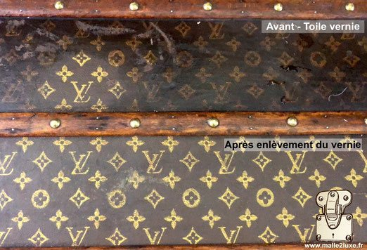 The varnish applied to the canvas trapped trunk louis vuitton