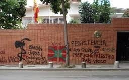 Pintadas en la Embajada española en Caracas