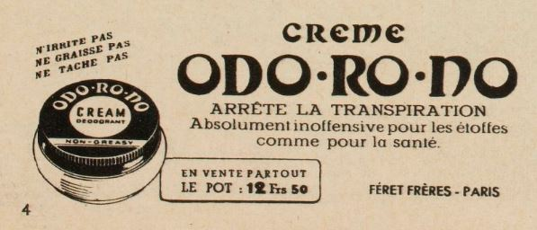 Crème Odorodo - magazine Marie-Claire du 4 août 1939