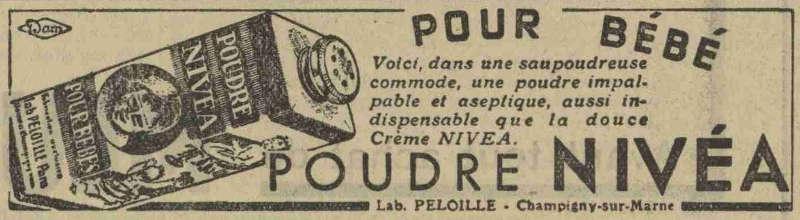 Poudre Nivéa - journal le Lorrain du 19 décembre 1937