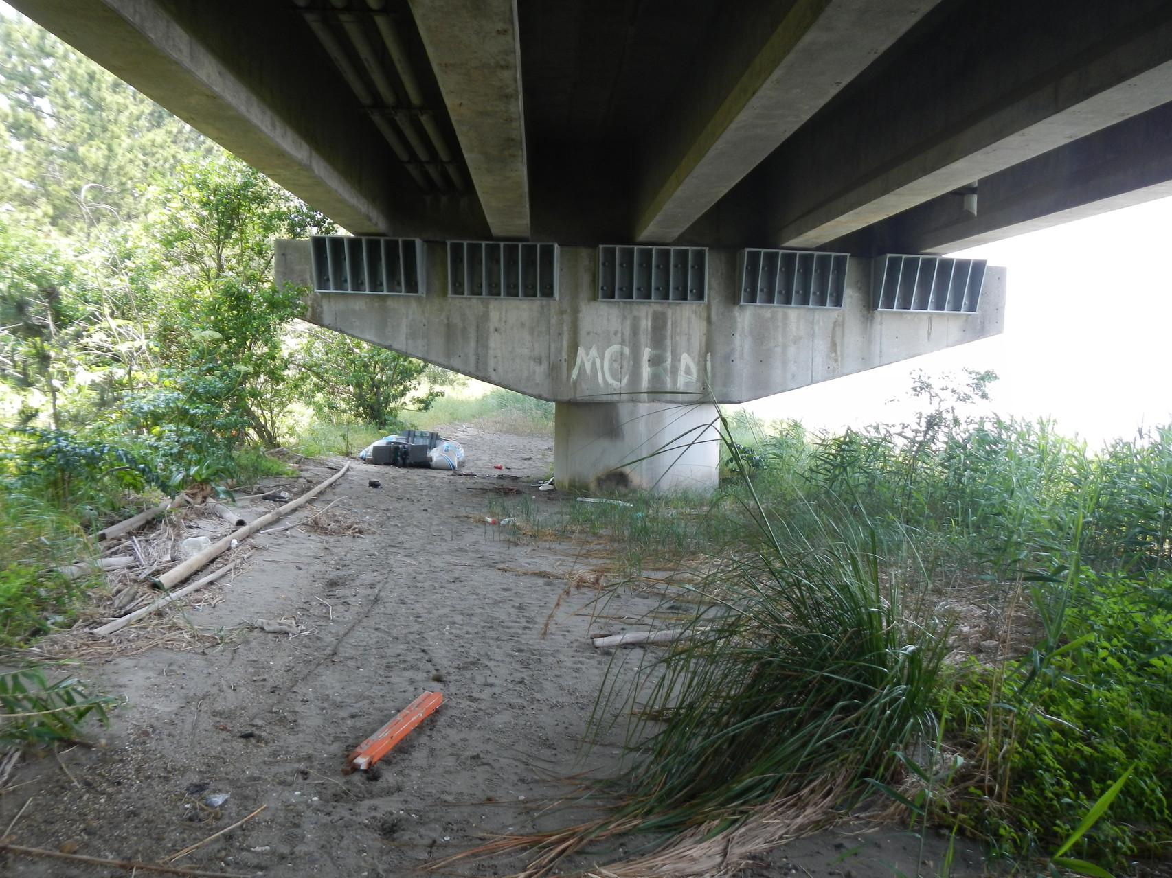 橋の下もゴミだらけ