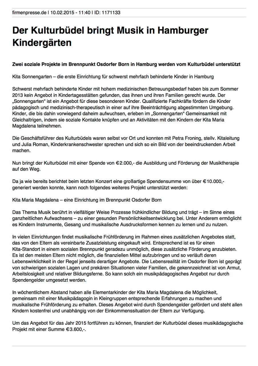 Firmenpresse.de, 10.02.2015