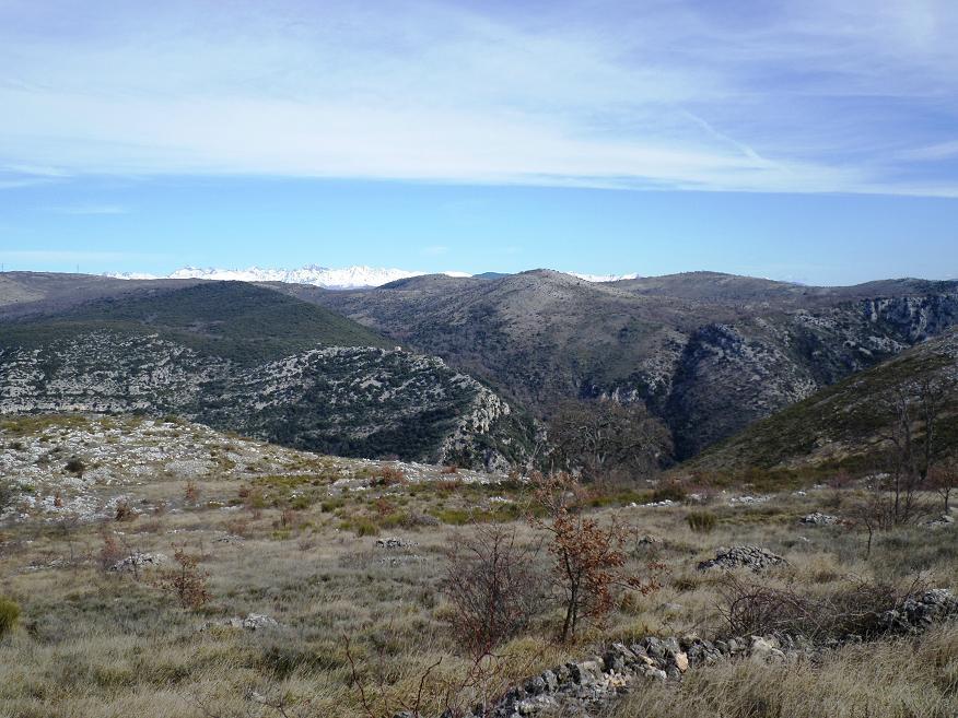 Les monts enneigés du Mercantour, au loin