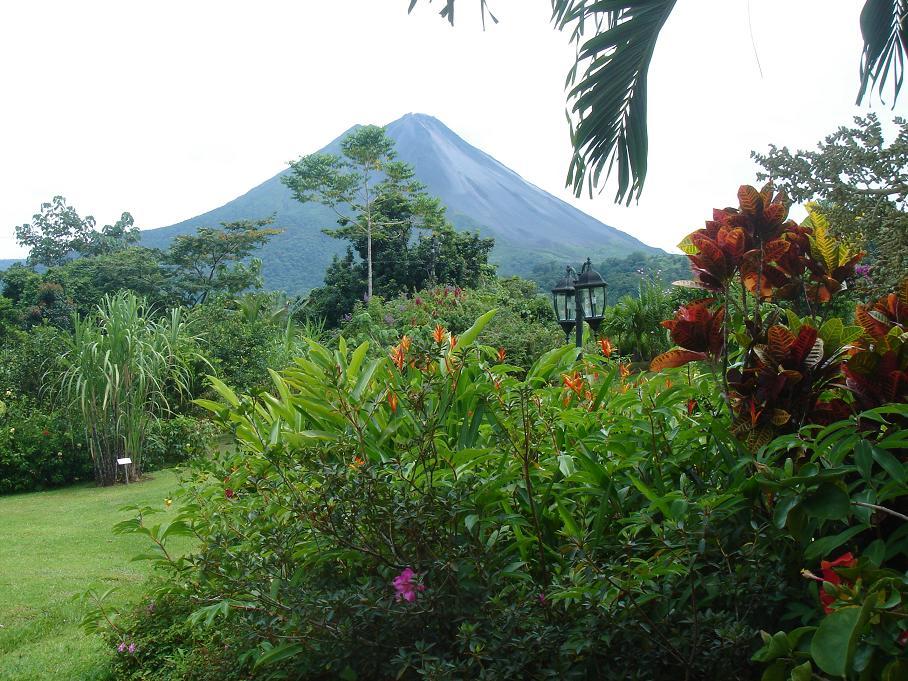 La vue sur le volcan de notre bungalow