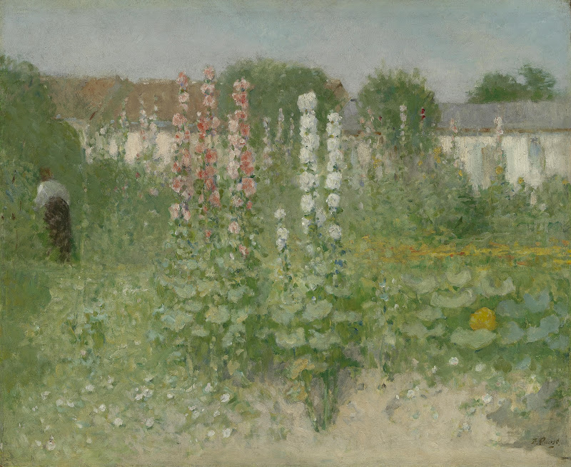 Garden With Hollyhocks