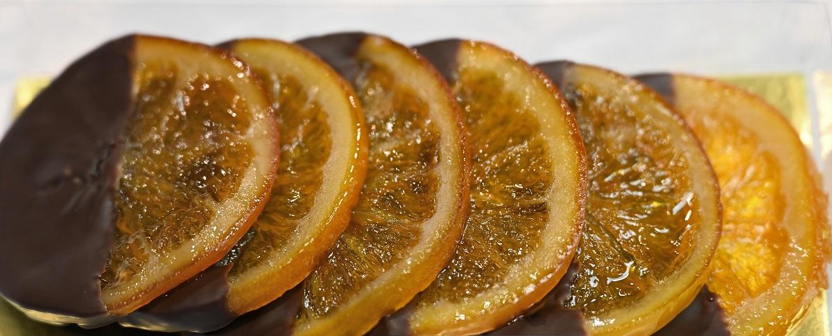 Tranches d'oranges confites ou Orangettes (6,90 € les 100 g)