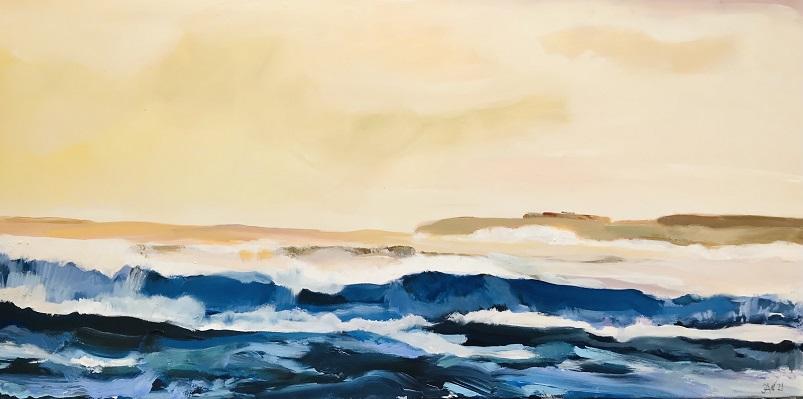 ,Flachwasser im Morgenlicht, 2021, Mischtechnik auf LW, 50 x 100 cm
