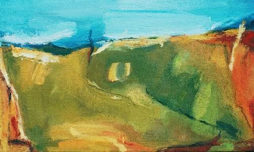 """ohne Titel, aus der Serie """"Campus"""", Mischtechnik und Sand auf Leinwand, 2001, 30 x 50 cm"""