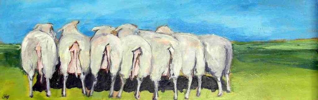 Öde Schafe, 2007, Mischtechnik auf Holz, 20 x 60 cm