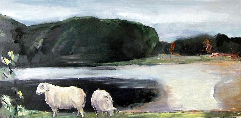 Still ruht der See, 2007, Mischtechnik auf Holz, 20 x 60 cm