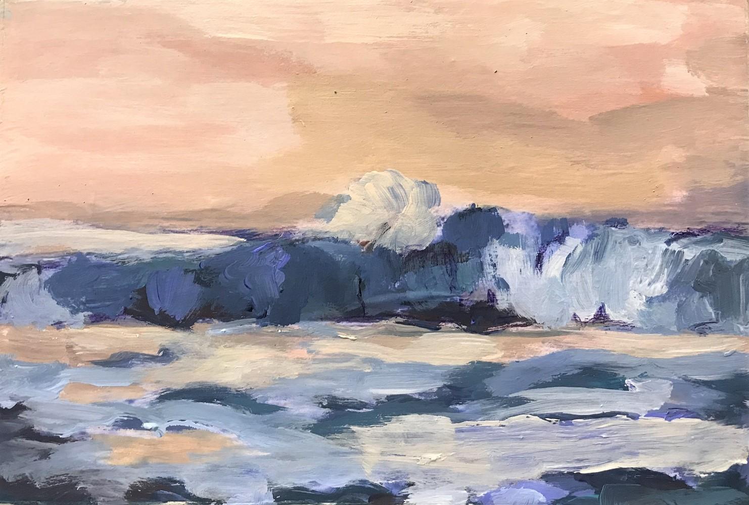 Brandung im Sonnenuntergang, 2020, Mischtechnik-Holz, 20x30 cm