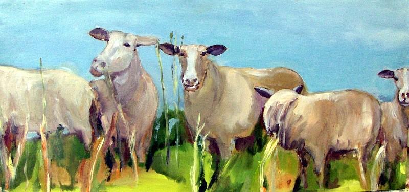 Schafe frontal, 2009, Mischtechnik auf Holz, 28 x 59 cm