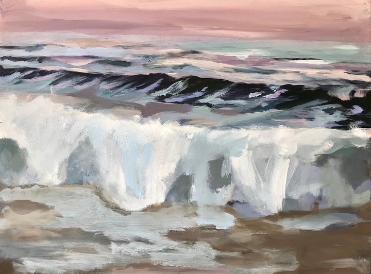 Rosa Himmel über Wellenkämmen, 2021, Mischtechnik auf LW, 60 x 80 cm