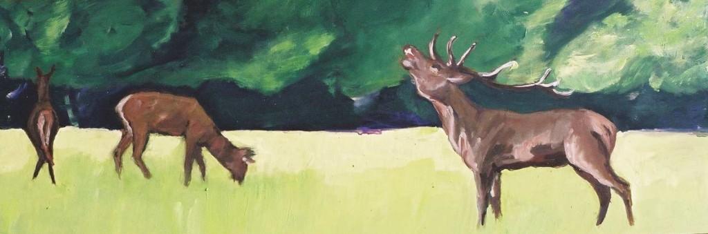 Röhrender Hirsch, 2006, Öl auf MDF-Platte, 22 x 62 cm