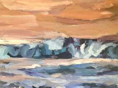 Brandung im Sonnenuntergang,2021, Mischtechnik LW,60 x 80 cm