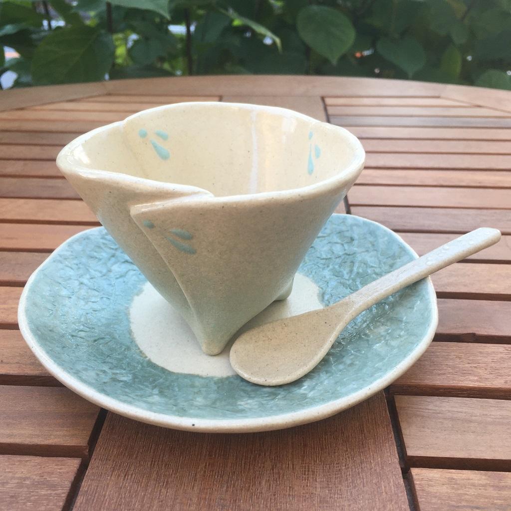 和紙柄の小皿<緑>&ビックリの足付き小鉢<ミントグリーン>