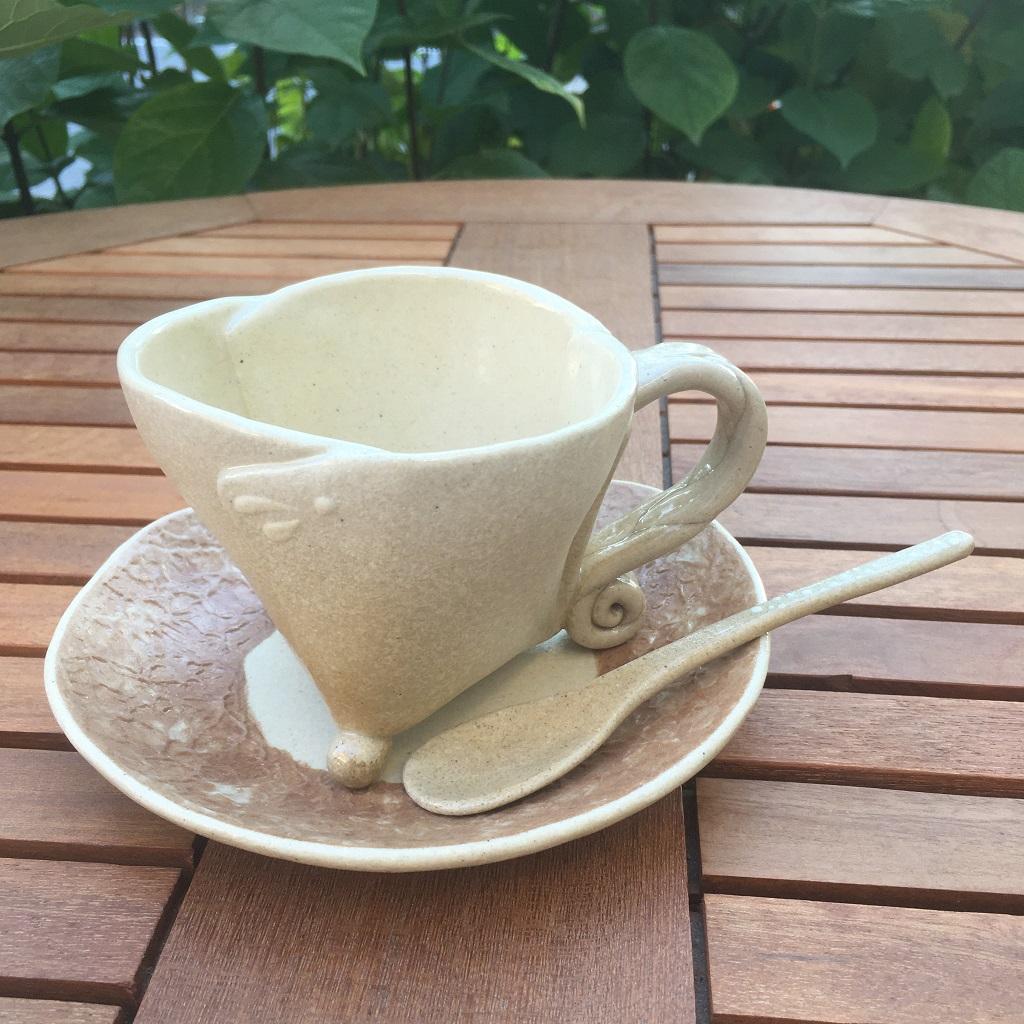 和紙柄の小皿<茶>&足付き変わりマグ<黄土>
