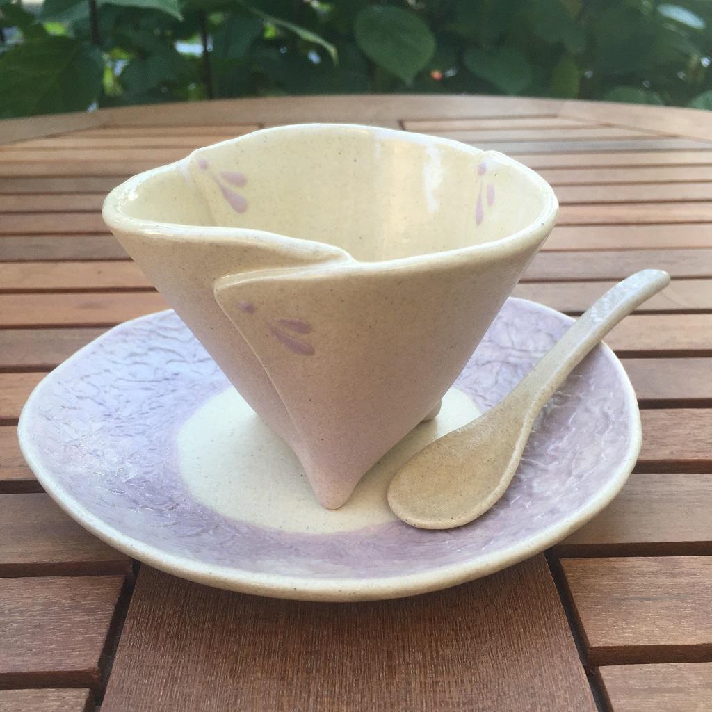 和紙柄の小皿<淡紫>&ビックリの足付き小鉢<ラベンダーピンク>