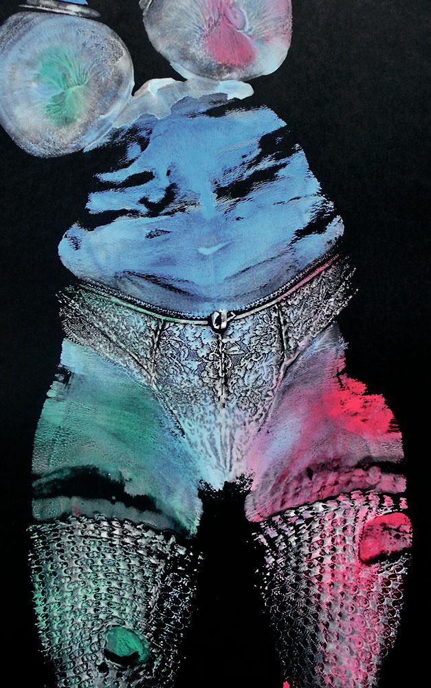 Burlesque 2005 / Gouache, Kohle auf Papier / 40x64 cm