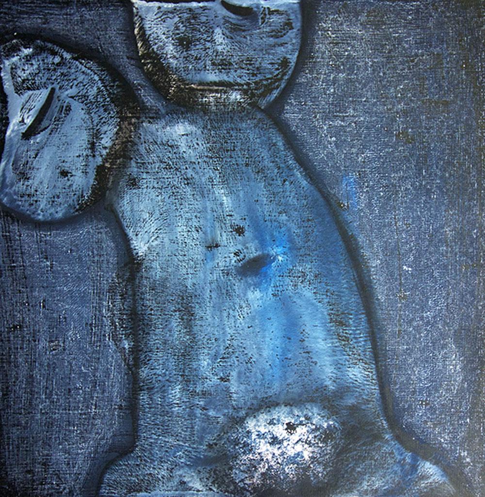 Blaue Haut 2 / Gouache, Kohle / 43x43 cm