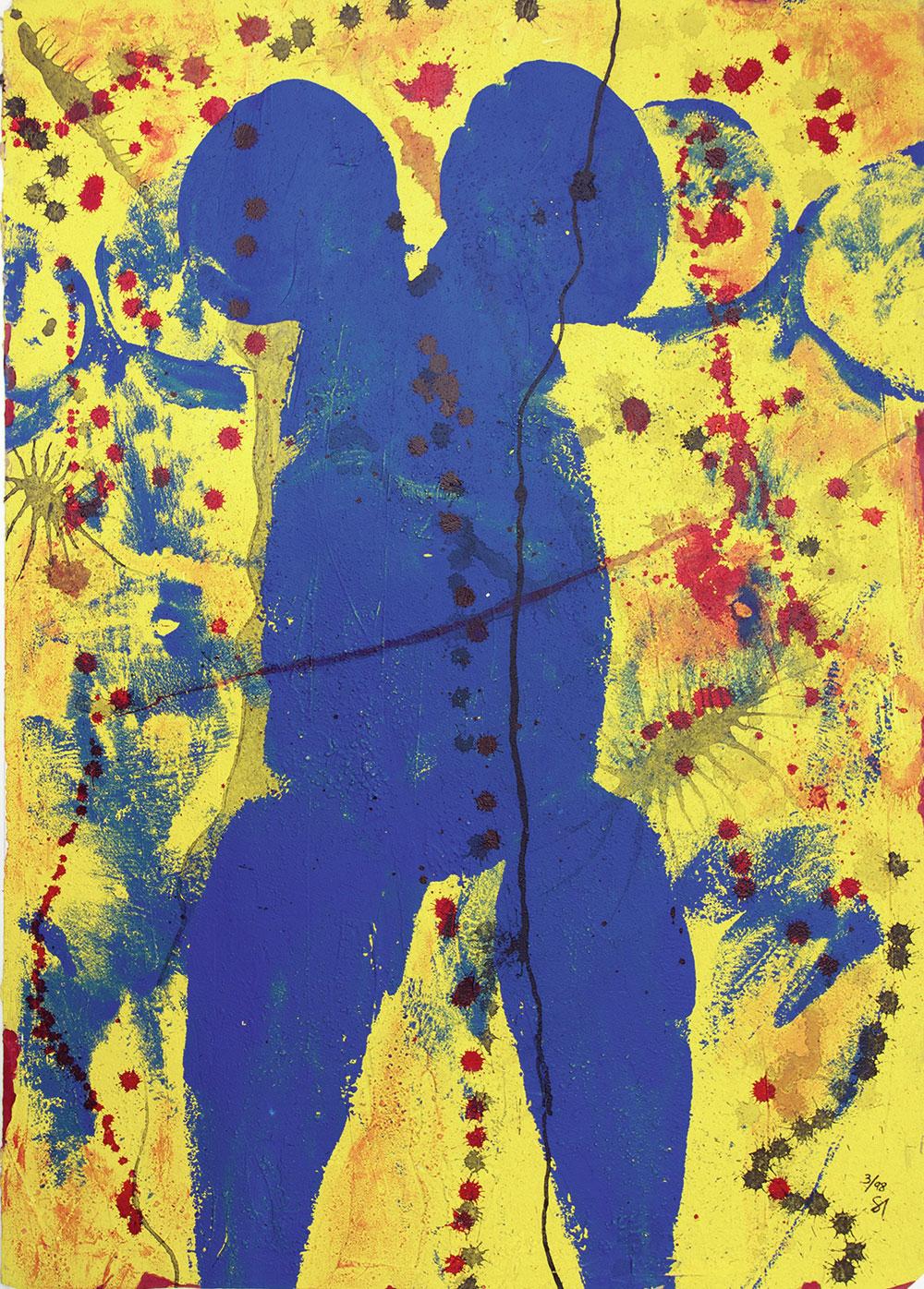 """""""Rausch"""" 1998 / Acryl, Tusche auf Papier / 64x90 cm"""