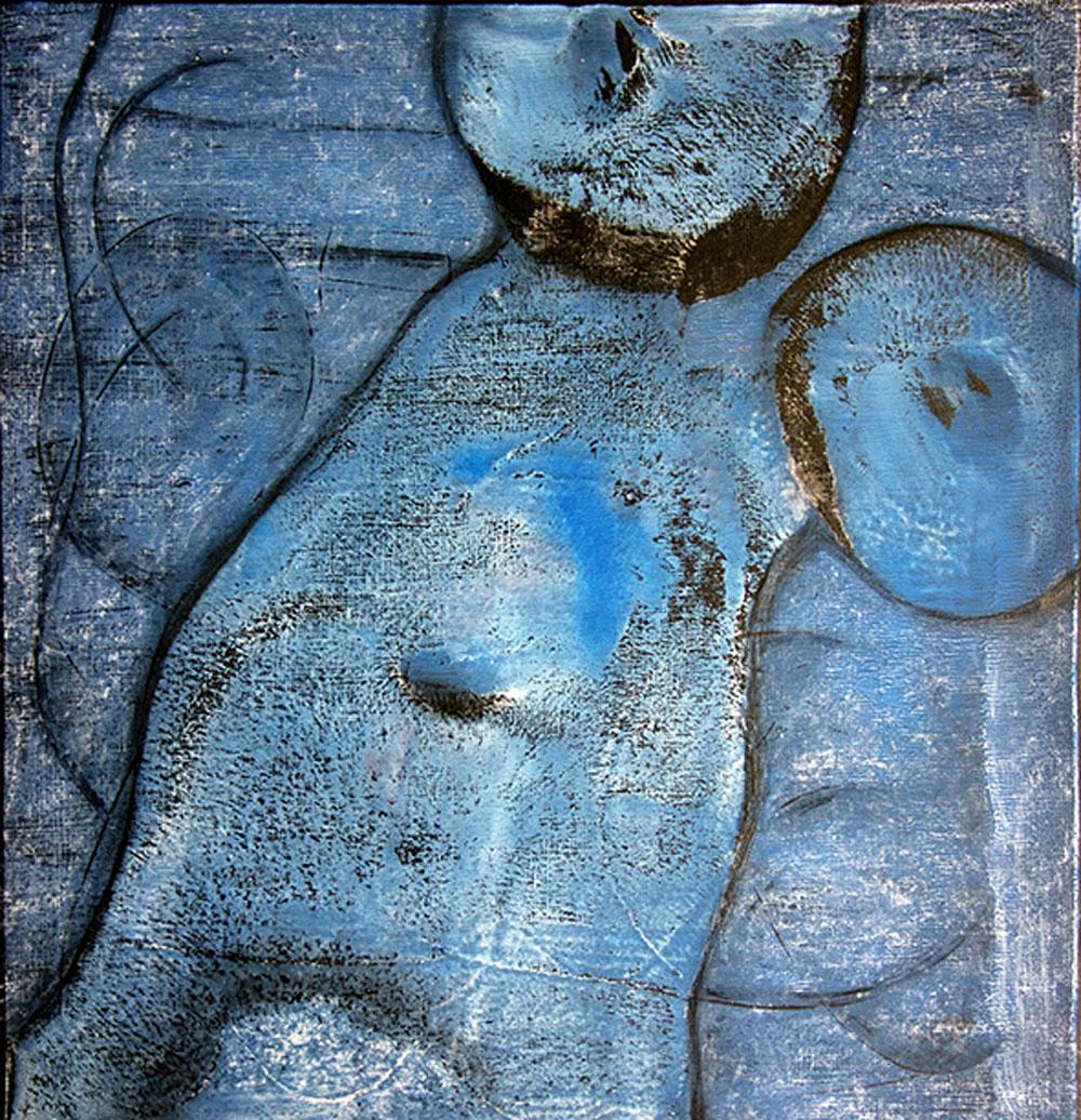 Blaue Haut / Gouache, Kohle / 43x43 cm