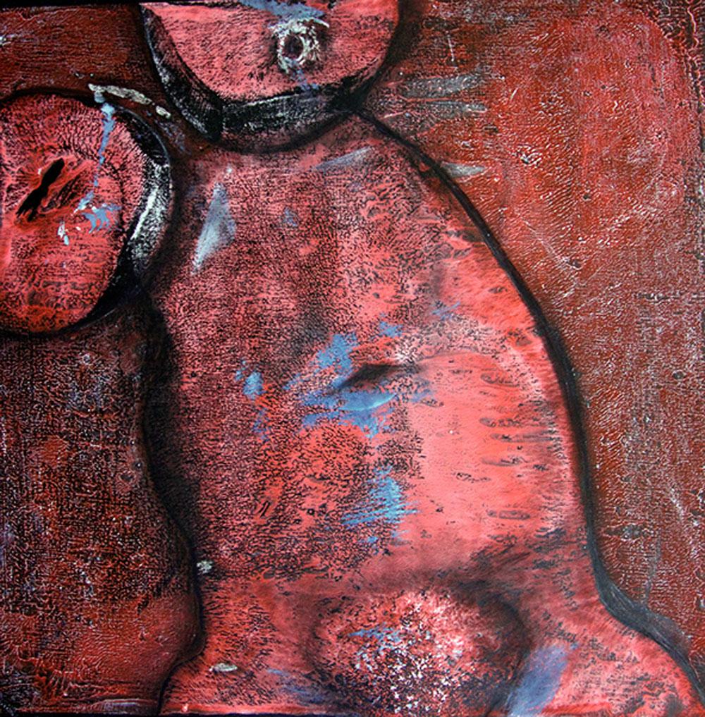Rote Haut / Gouache, Kohle / 43x43 cm