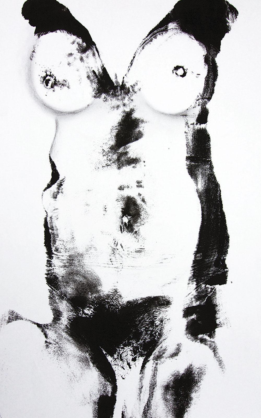 Schwarz auf Weiß 2016 / Gouache, Kohle auf Papier / 30x57 cm