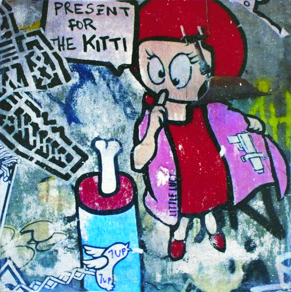 PRESENT FOR THE KITTI 2017 / Transferdruck auf MDF-Block / 20x20 cm
