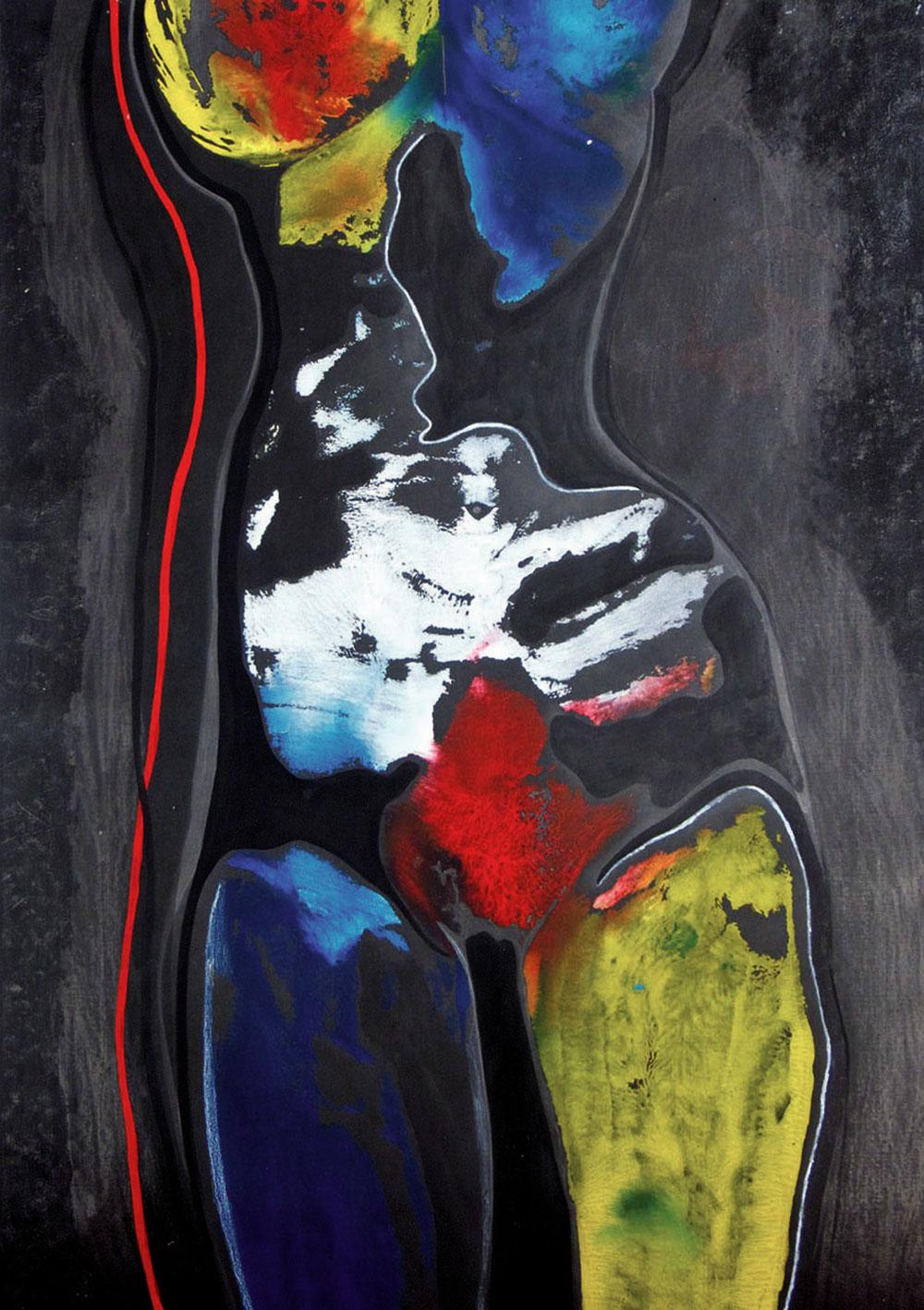 Körperlandschaft 1997 / Acryl, Graphit, Tusche auf Papier, 48x67 cm
