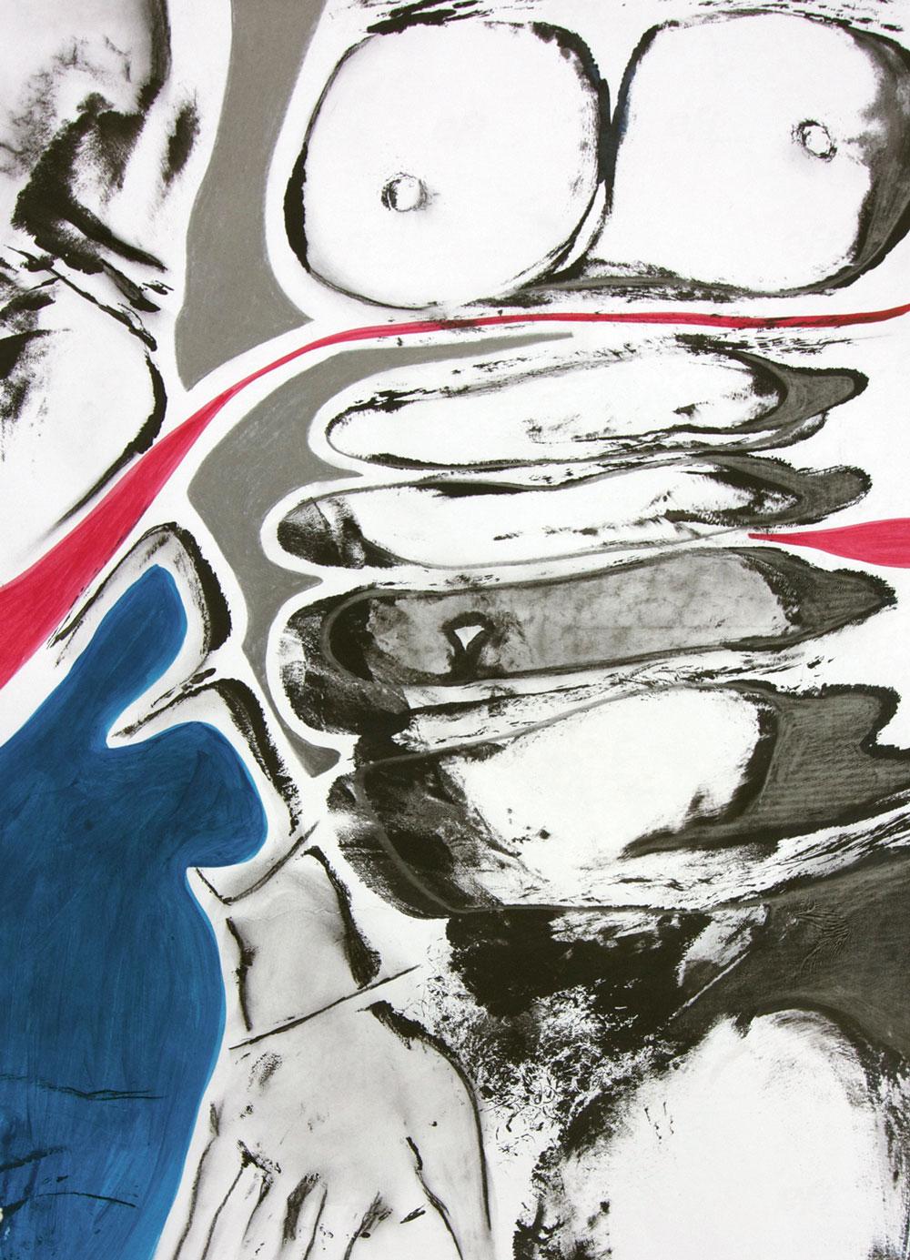 Sliced 2016 / Gouache, Kohle, Graphit auf Papier / 60x80