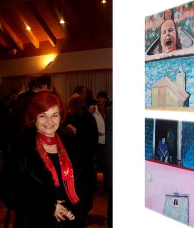 Rajka Poljak Franjević in front of Artworks of her husband Vlado
