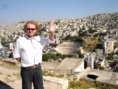 Vlado in front of old Coloseum in Amman Downtown