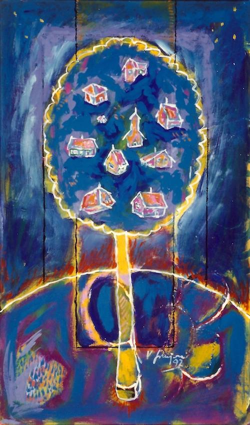 Vlado Franjevic: EINIGE FRÜCHTE IN DER FRUCHTBAUMKRONE (45x75, Acryl auf Leinwand) 1992