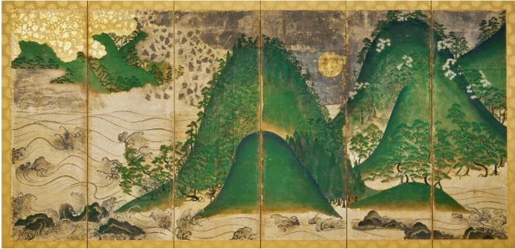 日月山水図屏風(天野山金剛寺重要文化財)右隻