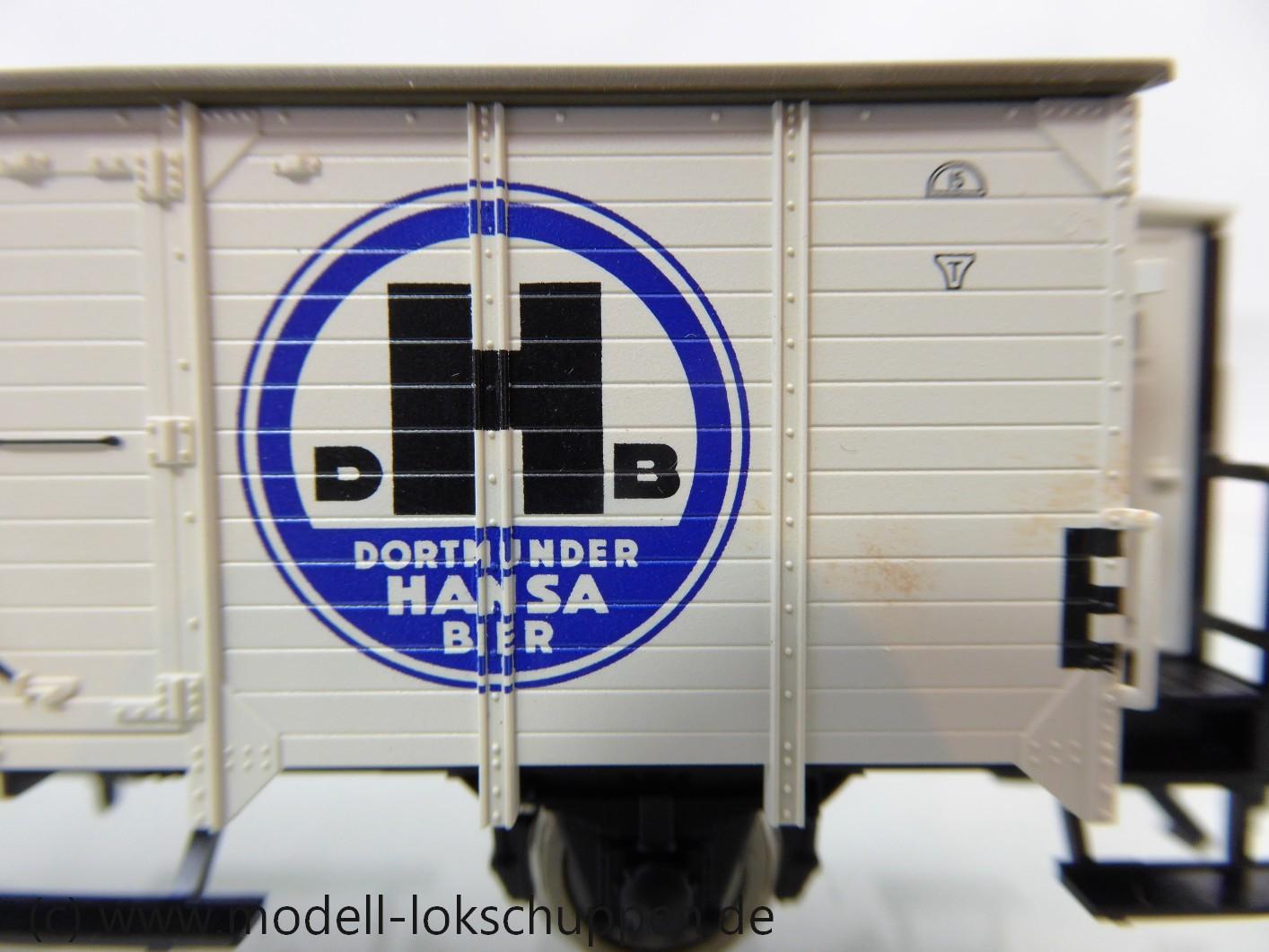 """Fleischmann 855865 Kühlwagen """"DORTMUNDER HANSA-BRAUEREI"""" mit Bremserhaus, Bauart Ghk der DRG"""
