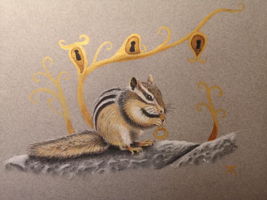 Streifenhörnchen Pastellstifte